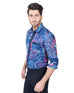 March Sea Green Floral Printed Shirt W Contrasting Front for Men