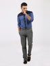 March Blue Polka Dots Button Down Dip-style Shirt for Men