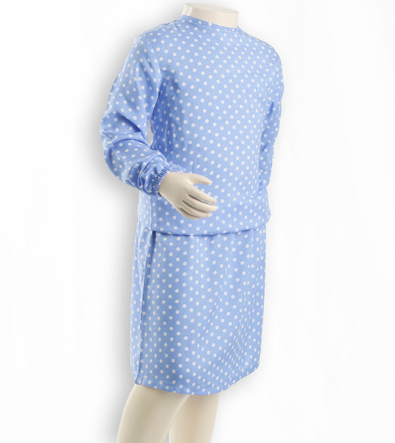 Nurai Powdery Blue Elasticated Frock with White Polka Dots for Girls