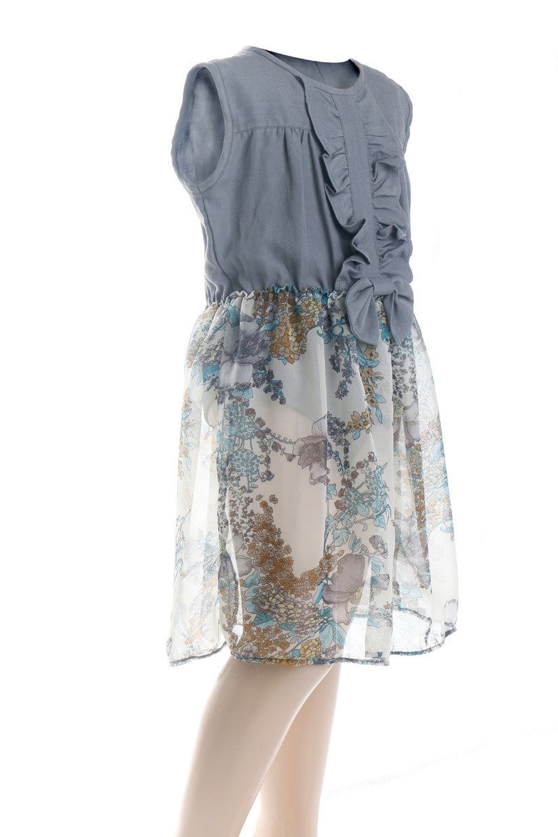 Nurai Gray Denim Romper W Attached Floral Skirt for Girls