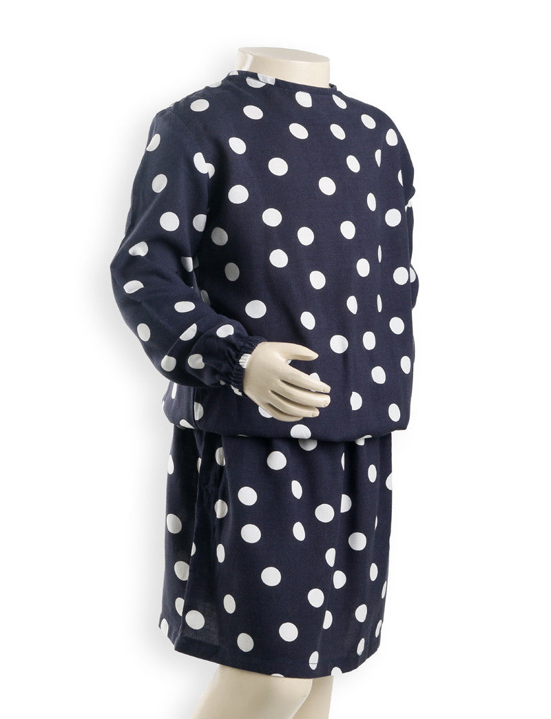 Nurai Dark Blue Elasticated Frock with Large Polka Dots for Girls