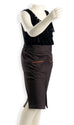 Nurai Brown Pencil Skirt W Front Zips for Girls
