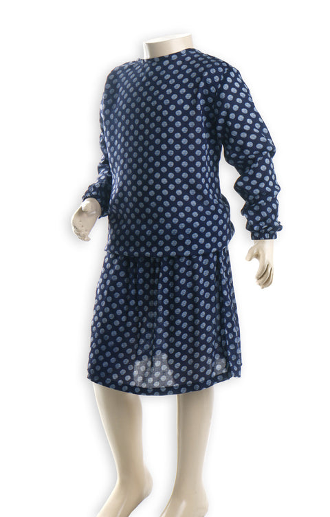 Nurai Dark Blue Elasticated Waist Frock with Light Blue Polka Dots for Girls