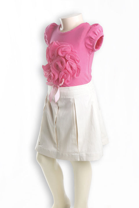 Nurai Cream Box Plated Self Stripe Skirt for Girls
