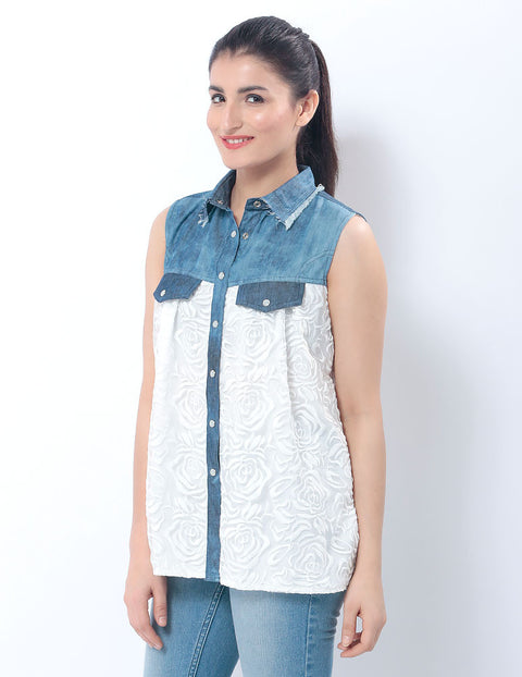 White Net Lined Top with Blue Denim Collar