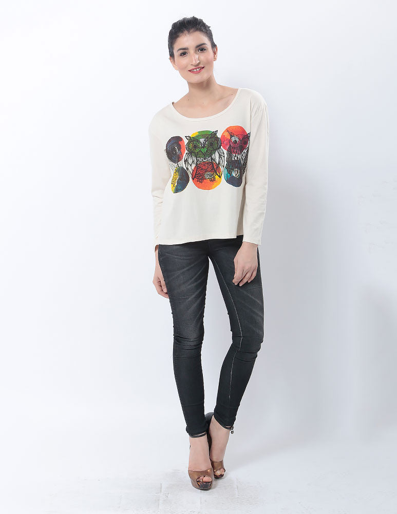 March Off-White T- shirt with Owl Prints for Women