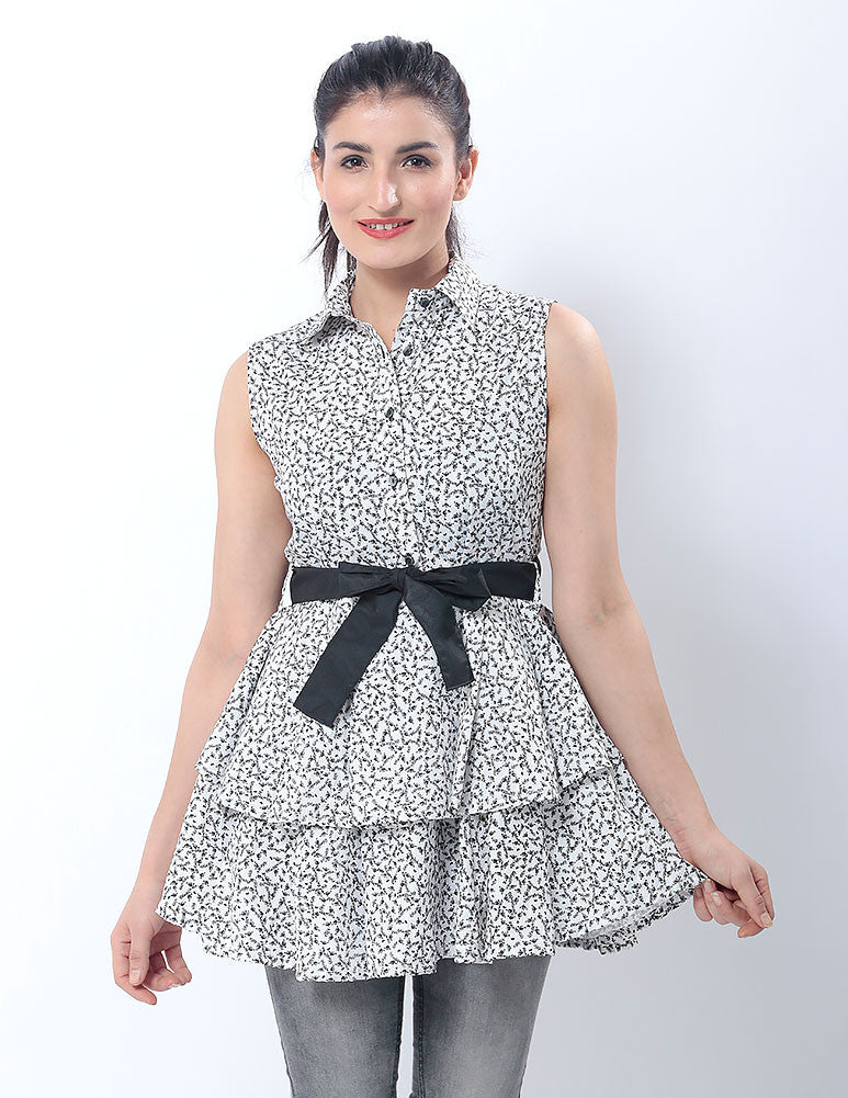March White & Black Floral Peplum Top W Black Bow for Women