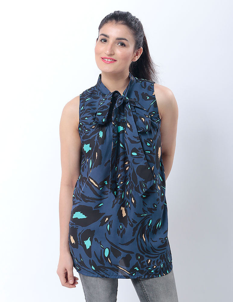 March Blue Printed Silk Sleeveless Top W Tie for Women