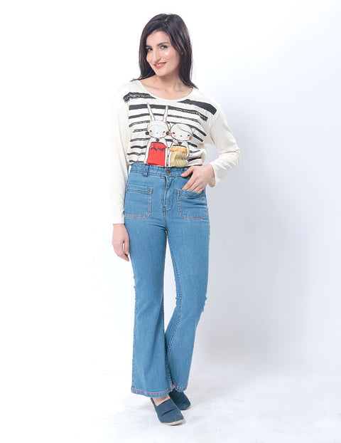 March Light Blue Flared Jeans W Patch Pockets for Women
