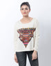 March Off-White T- shirt with African and Reindeer Prints for Women