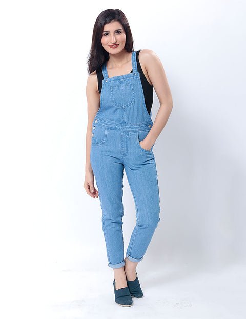 March Light Blue Dungarees W/ Silver Buttons for Women