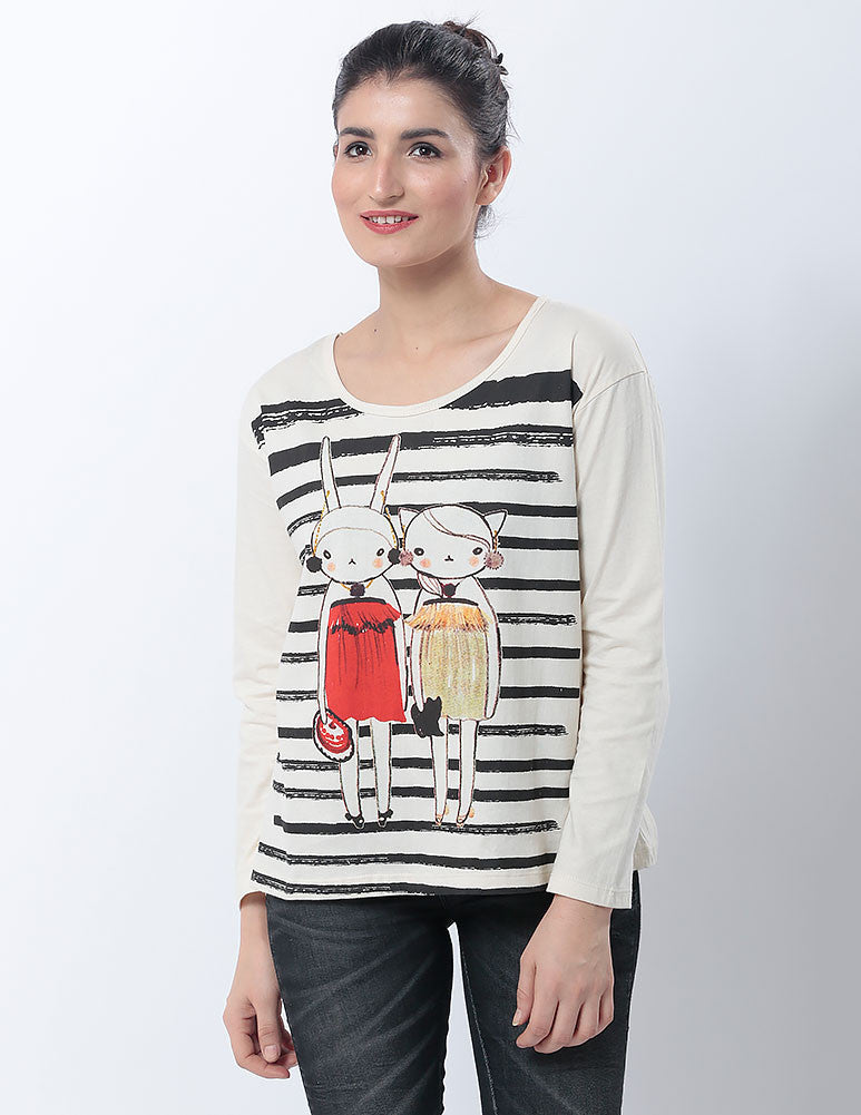 March Off-White T- shirt with Cartoon Prints for Women