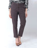 Nurai Brown Cotton Straight Leg Cropped Trousers for Women