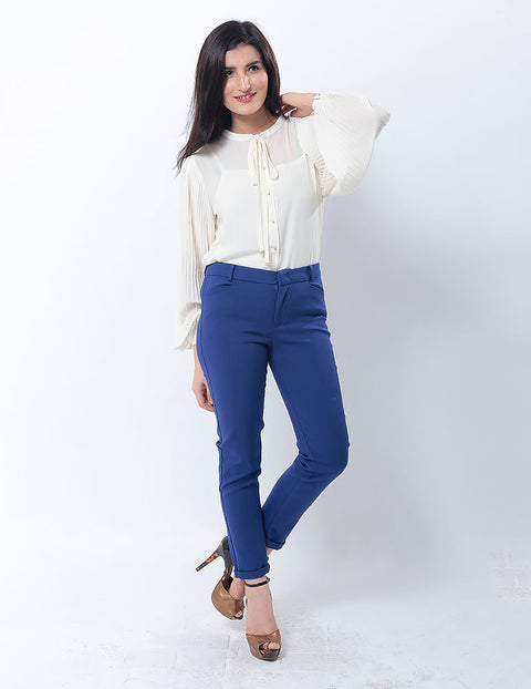 Nurai Royal Blue Pencil Pants for Women