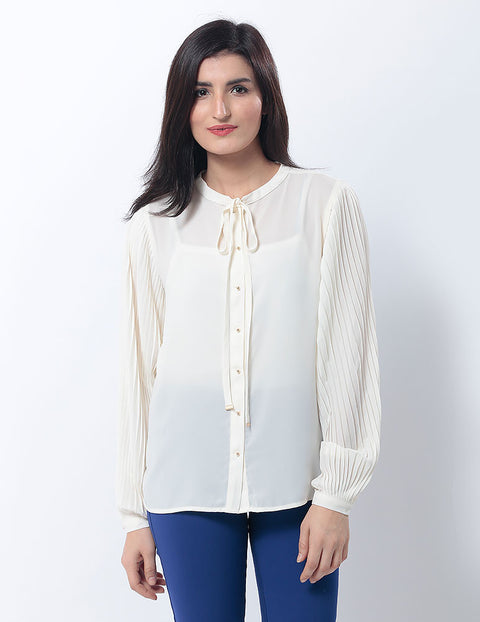March Creamy Crinkle Chiffon Shirt W Pleated Sleeves & Mao Collar for Women