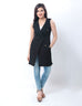 March Black Stretchy Denim Sleeveless Coat With Brass Buttons for Women