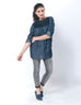 Dark Blue Eastern Denim Shirt W Black Lace on Front