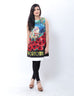 March Short Silk Digital Printed Dress with Embellishments and Red Roses Applique for Women (Portofino)