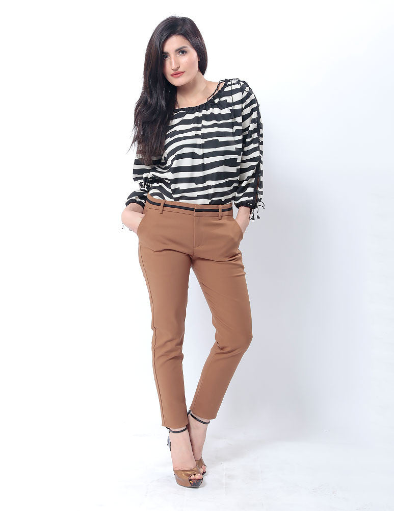 Nurai Brown Pencil Pants W Thin Black Waistband for Women