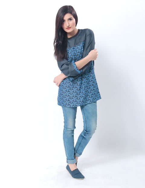 Tencel Denim Flared Top W Abstract Digital Print & a Ribbed Collar for Women