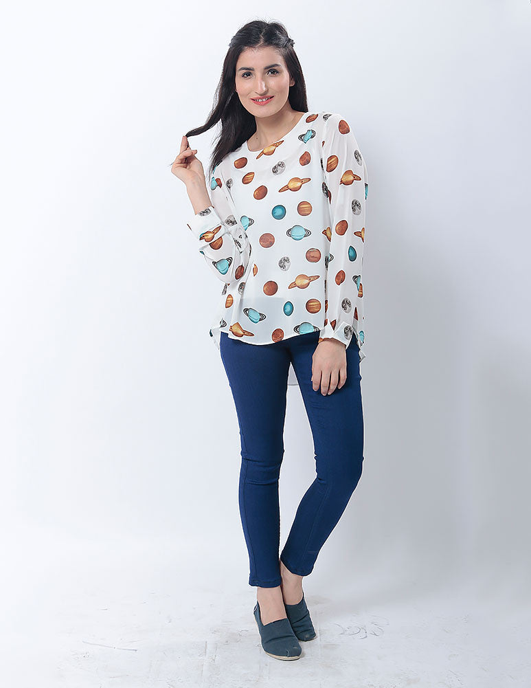 Nurai White Double Layered Chiffon Shirt with Planet Prints for Women