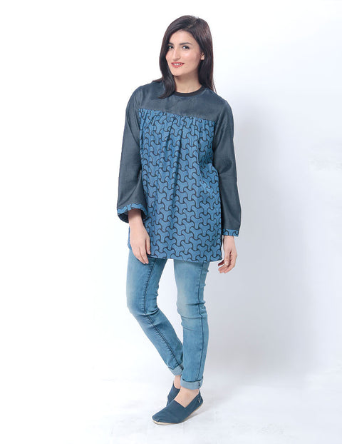 March Tencel Denim Flared Top W Abstract Digital Print & a Ribbed Collar for Women