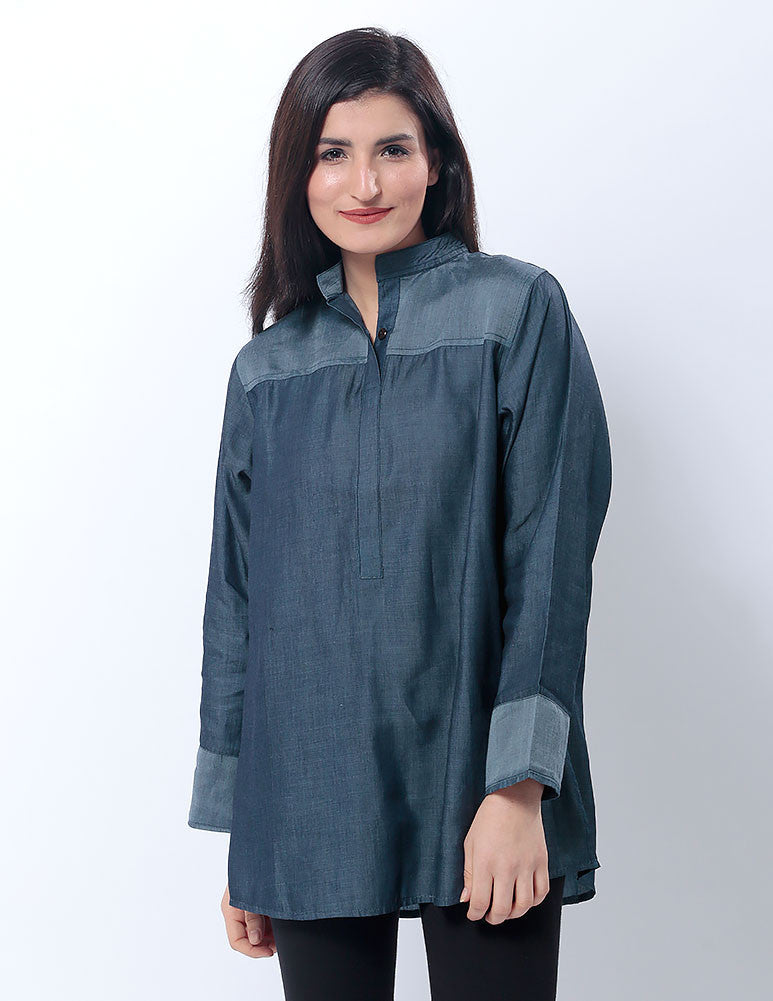 March Featherlite Denim Eastern Shirt W Collar Stand for Women