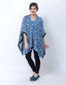 March Printed Silk Blue Kaftan W Blue Rhinestones for Women