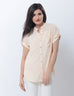 Nurai Creamy Crinkle Chiffon Shirt with Dual Chest Pockets & Short Sleeves for Women