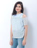 March White & Blue Bicycles Off Shoulder Top W. Blouse for Women
