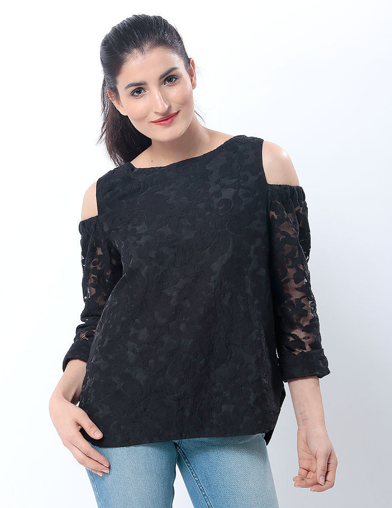 March Black Organza Floral Top W 3/4 Sleeves for Women