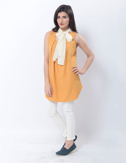 Nurai Burnt Orange Chiffon Pleated Top W White Necktie for Women