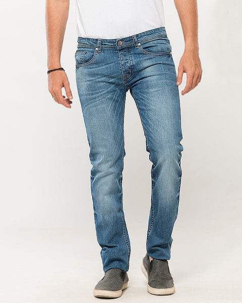 March Medium Wash Slimfit Jeans with Sprayed Front for Men