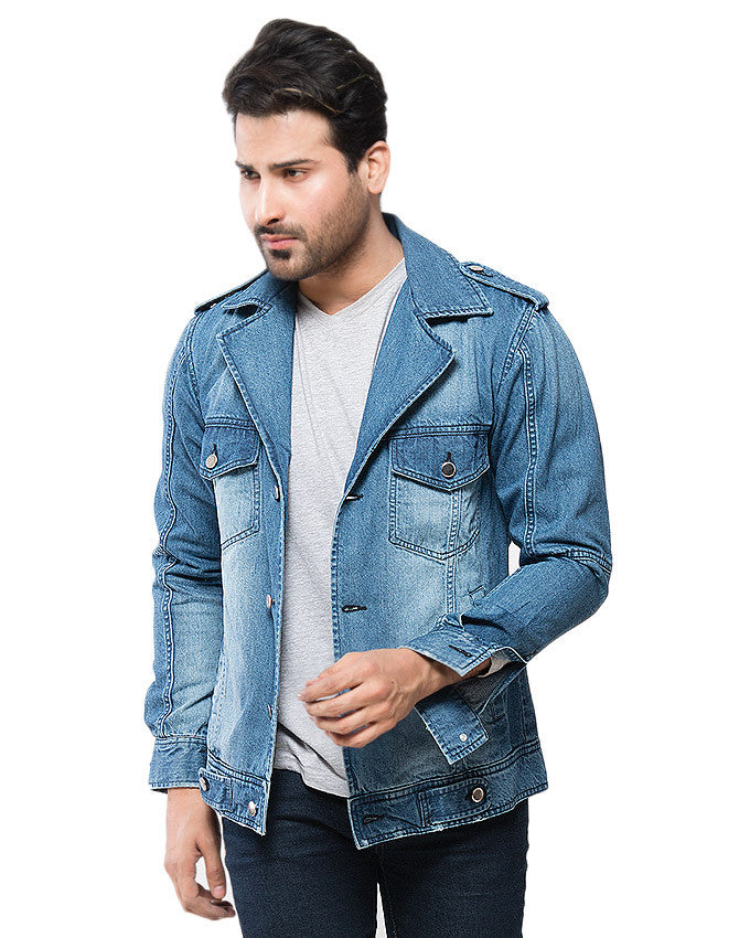 March Medium Wash Investigator Jacket With Tonal Variety & Silver Buttons