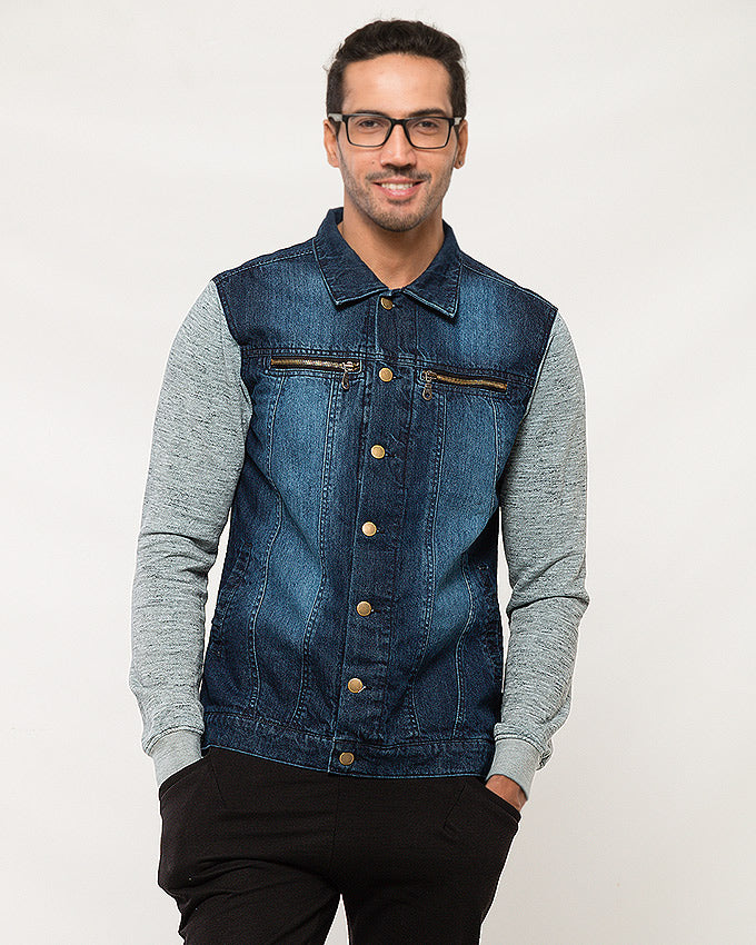 Dark Blue Frosted Wash Jacket W Heather Gray Sleeves