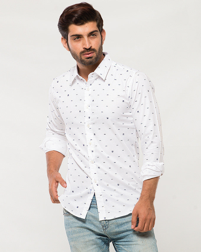 March White Cotton Shirt with Tiny Bows for Men