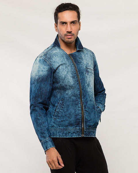 March Ocean Blue Patchy Double Breasted Jacket for Men