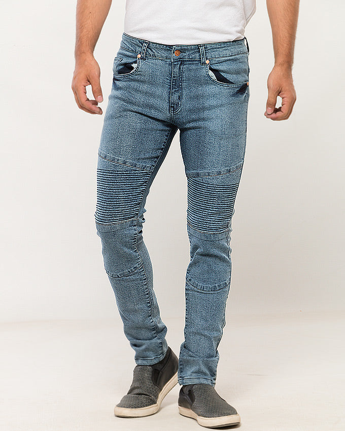 March Frosted Blue Biker Jeans for Men