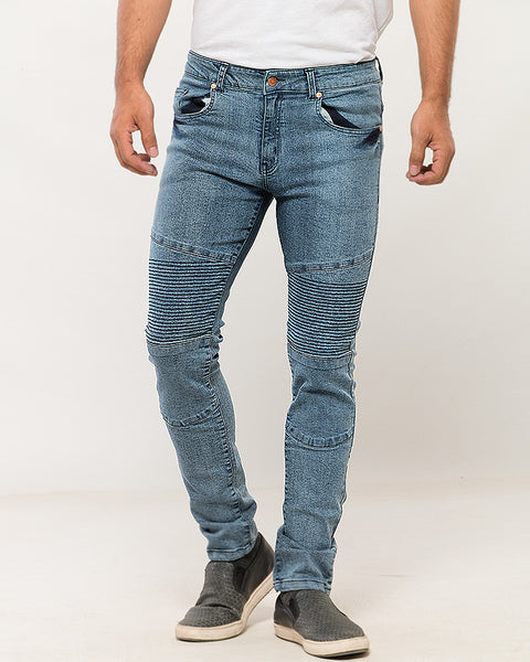 Frosted Blue Biker Jeans for Men
