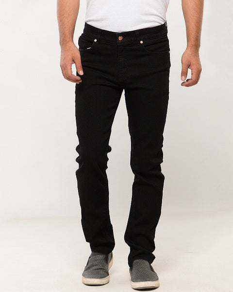 March Black Stretchable Jeans Straight Leg for Men