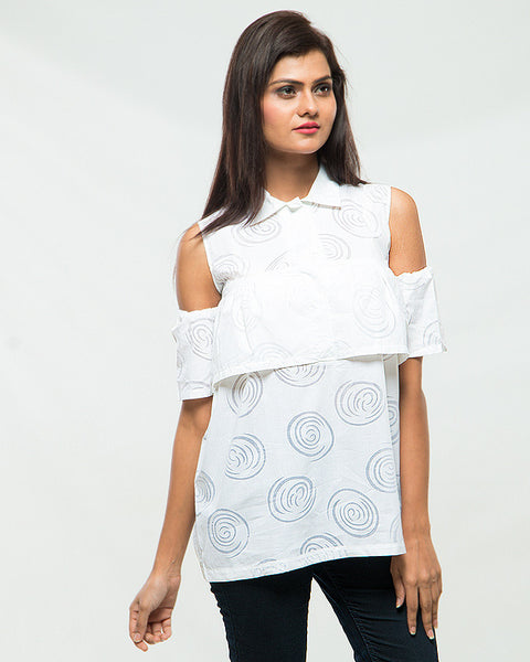 Nurai Offwhite Cotton Swirls Off Shoulder Top for Women