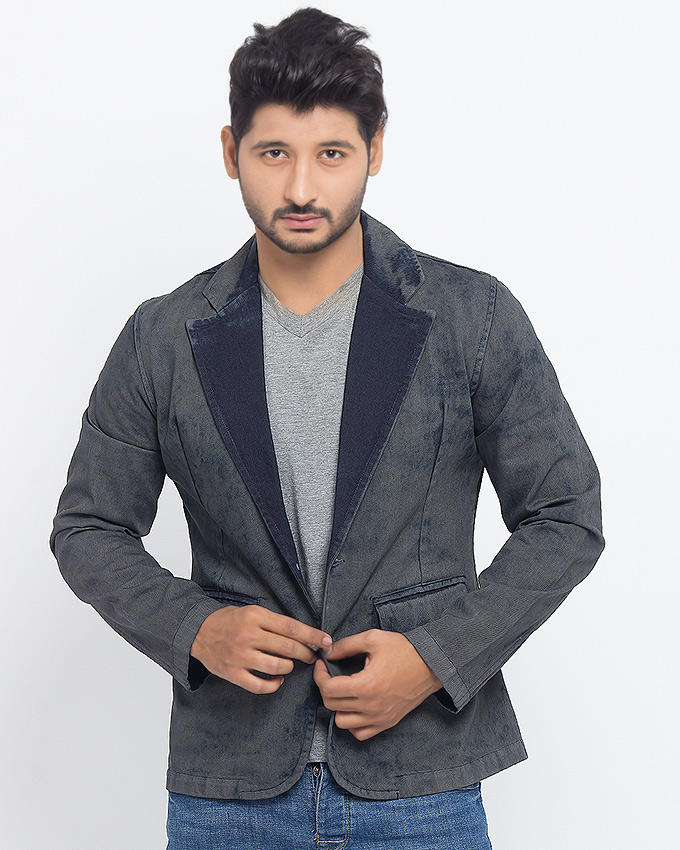 March Gray Denim Coat for Men