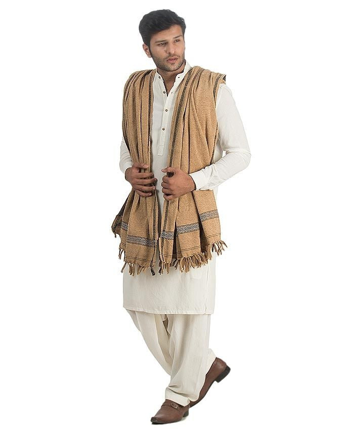 Murree Beige Velvet Shawl For Men