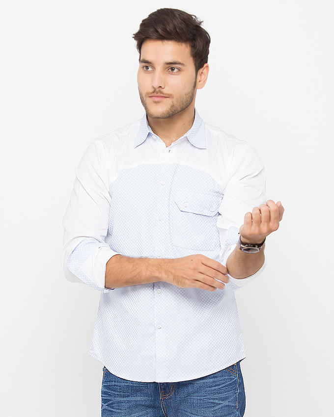 Blue Cotton Dotted Shirt with White Yoke for Men