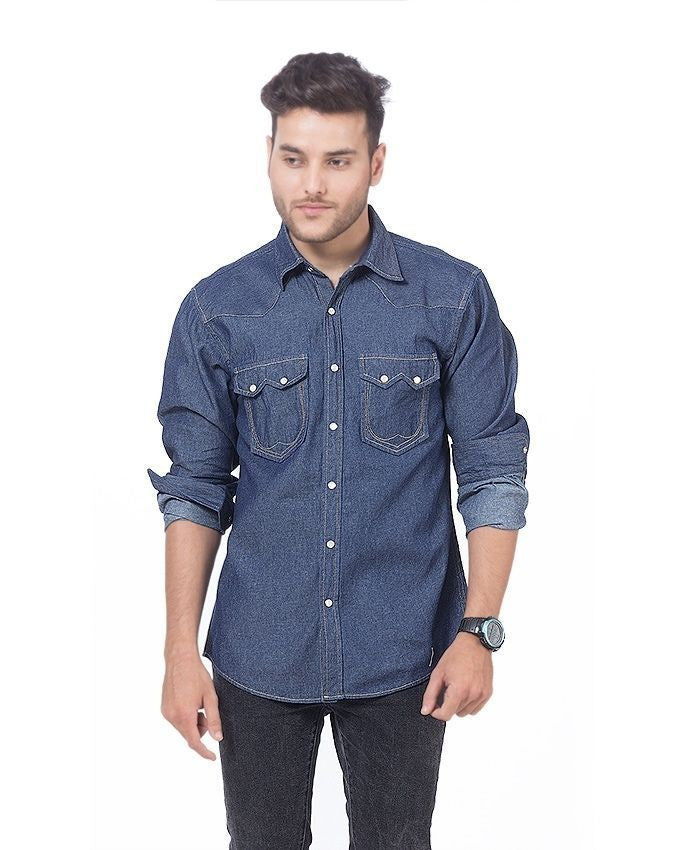 March Dark Blue Denim Shirt with Snap Buttons for Men