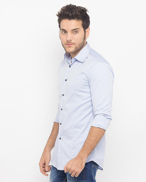 March Formal Blue Fine Cotton Shirt for Men