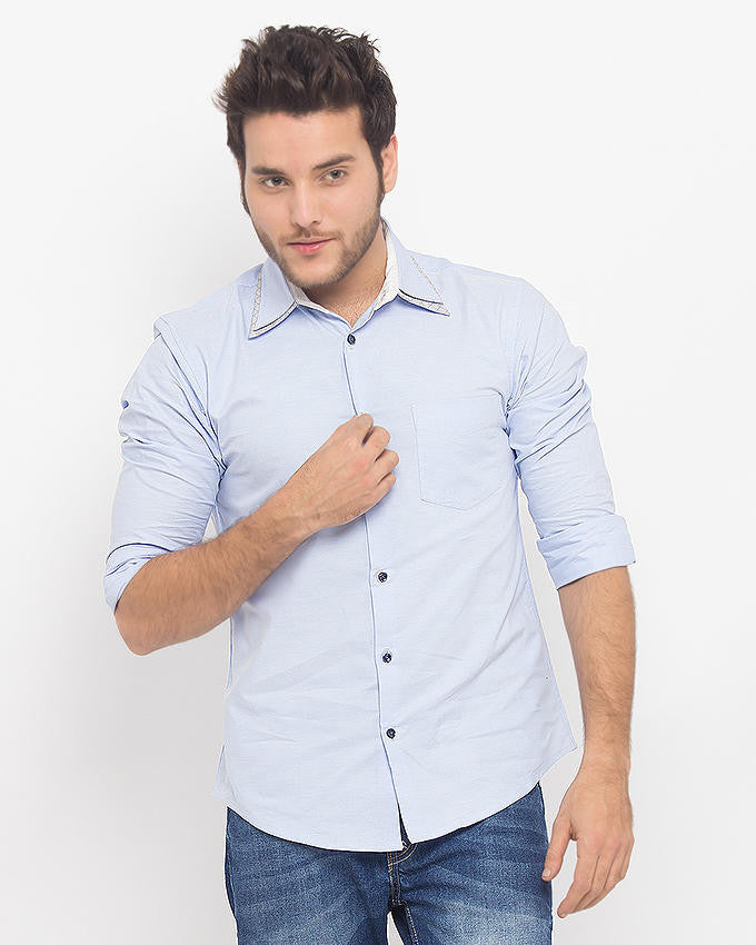 March Blue Oxford Cotton Shirt with Double Collar for Men