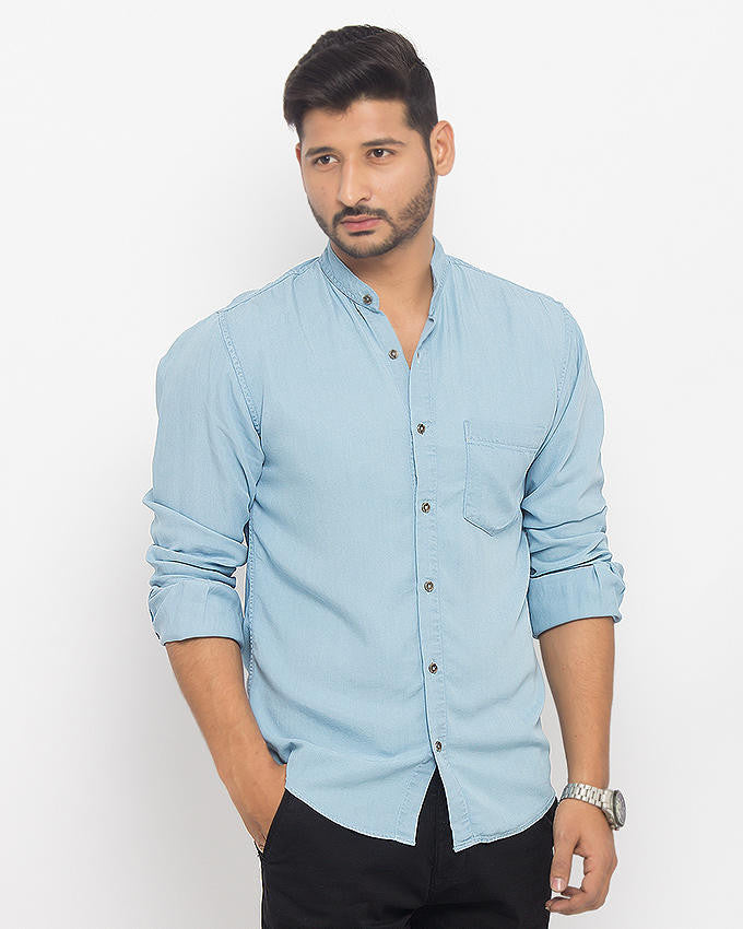 Asset Ice Blue Super Soft Tencel Denim Shirt with Metal Buttons for Men