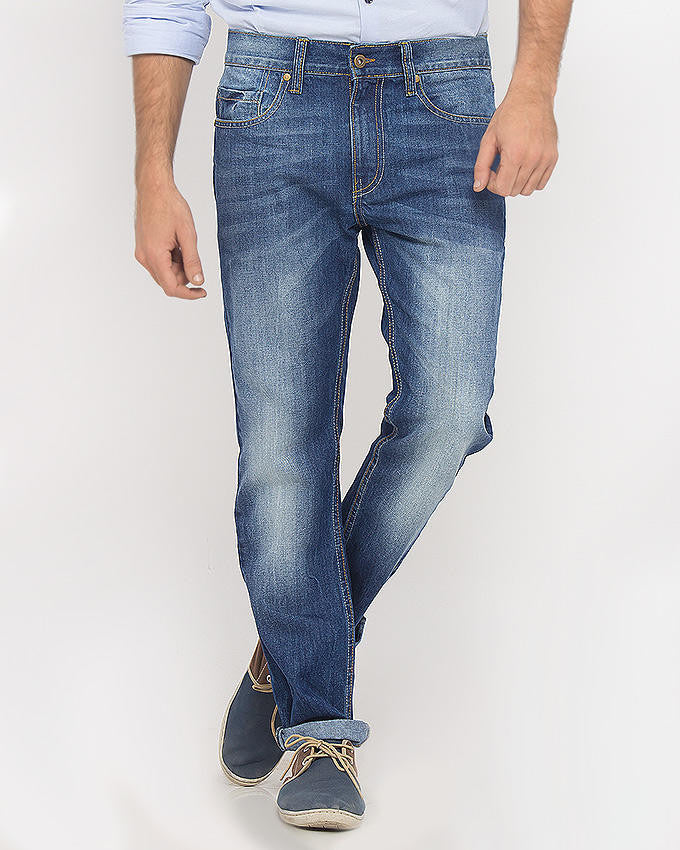 March Mid-Blue Classic Blue Jeans With Scrapping For Men
