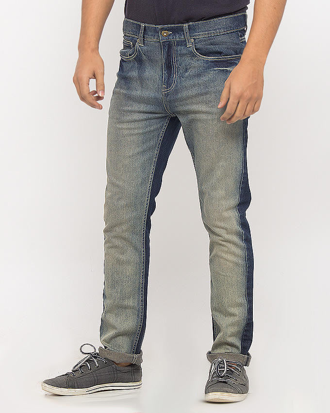 March Dark Blue Jeans With Sprayed Front For Men